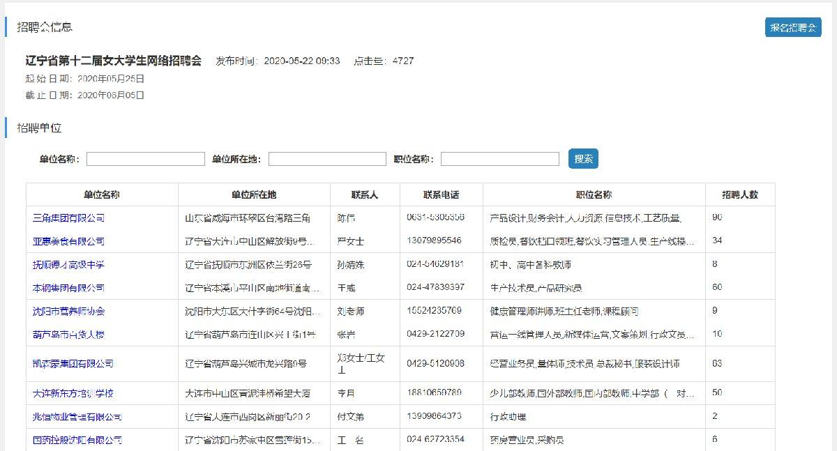 2020辽宁省第12届女大学生网络招聘会就业岗位信息
